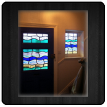 Fused glass door and side panel
