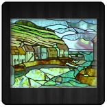 Landscape picture panel depicting the village of Staithes