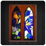 Leaded panels incorporating etched and painted flashed glass. Inspired by Brian Froud faeries.