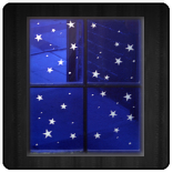 Panel with etched stars, blue on clear flashed glass